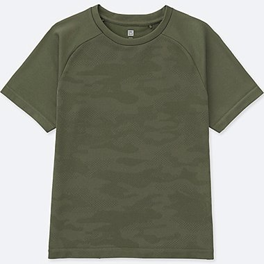 KIDS DRY EX CREWNECK SHORT-SLEEVE T-SHIRT, OLIVE, medium