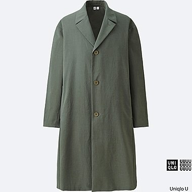 MEN U LIGHTWEIGHT OVERSIZED COAT, OLIVE, medium