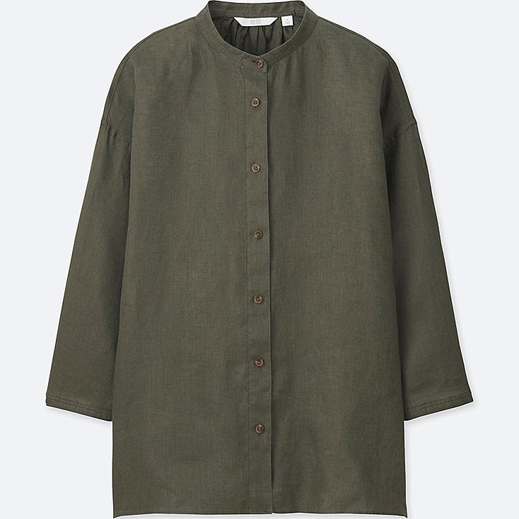 Women premium linen stand collar 3 4 sleeve shirt uniqlo us for Stand collar shirt womens