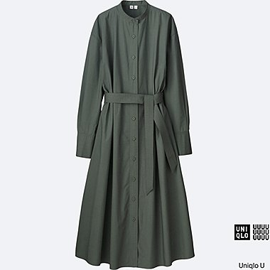 WOMEN U COTTON LONG-SLEEVE LONG SHIRT DRESS, OLIVE, medium