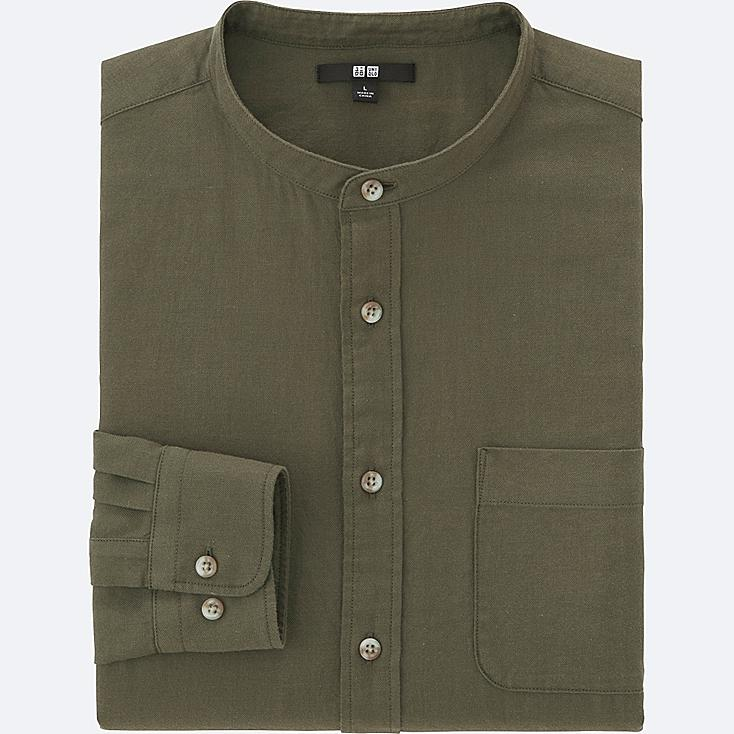 MEN SOFT TWILL STAND COLLAR LONG-SLEEVE SHIRT, OLIVE, large