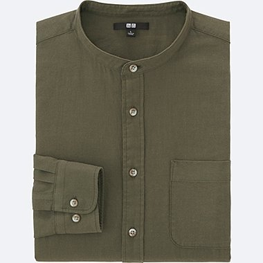 MEN SOFT TWILL STAND COLLAR LONG-SLEEVE SHIRT, OLIVE, medium