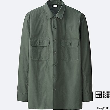 MEN Uniqlo U Cotton Work Long Sleeve Shirt