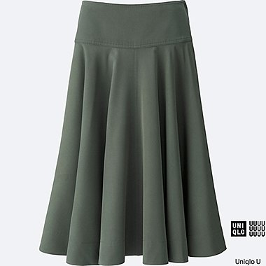 WOMEN Uniqlo U Easy Care Silk Touch Midi Skirt