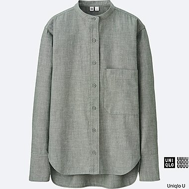 WOMEN Uniqlo U Stand Collar Long Sleeve Shirt