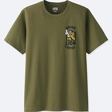 THE BRANDS SHORT-SLEEVE GRAPHIC T-SHIRT (LION COFFEE), OLIVE, medium