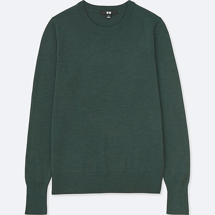 Women Extra Fine Merino Crew Neck Sweater, OLIVE, large