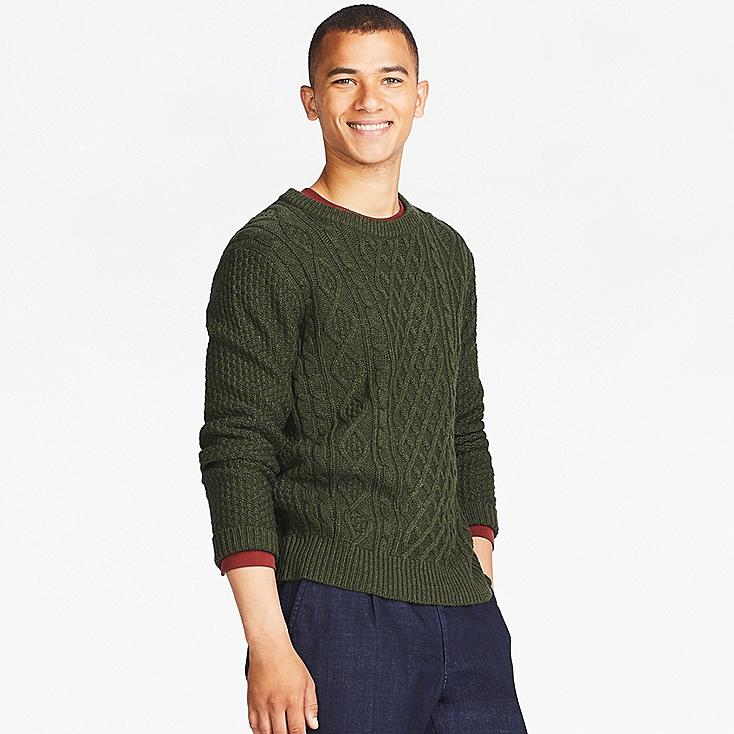 MEN CABLE CREW NECK LONG-SLEEVE SWEATER | UNIQLO US