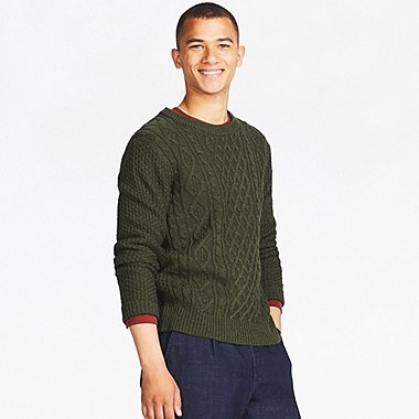 MEN CABLE CREW NECK LONG-SLEEVE SWEATER, OLIVE, medium