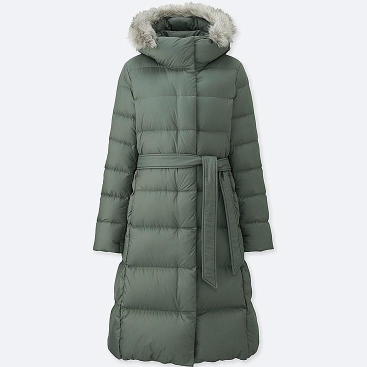WOMEN LIGHTWEIGHT DOWN HOODED COAT, OLIVE, large