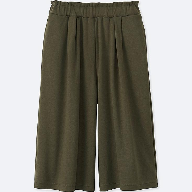 GIRLS JERSEY DRAPE GAUCHO PANTS, OLIVE, large