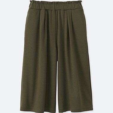 GIRLS JERSEY DRAPE GAUCHO PANTS, OLIVE, medium