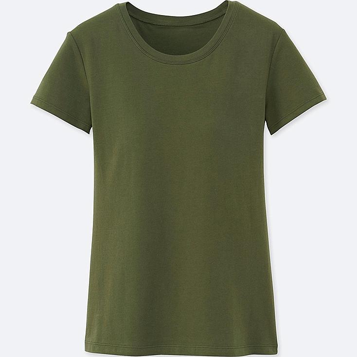 Women Bra Crew Neck Short Sleeve T-Shirt, OLIVE, large