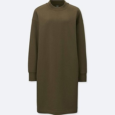 WOMEN SWEATSHIRT DRESS, OLIVE, medium