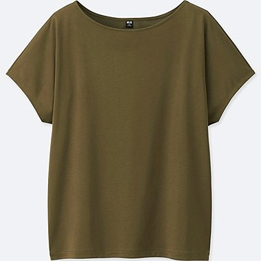 WOMEN DRAPE CREW NECK T-SHIRT