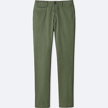 MEN VINTAGE REGULAR FIT CHINO FLAT-FRONT PANTS, OLIVE, medium