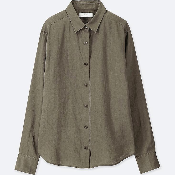Women premium linen long sleeve shirt uniqlo us for Uniqlo premium t shirt