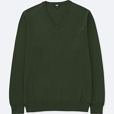 MEN cotton V NECK LONG SLEEVE SWEATER (washable)