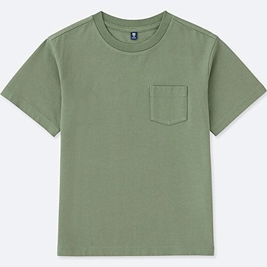 KIDS WASHED POCKET CREWNECK SHORT-SLEEVE T-SHIRT, OLIVE, medium