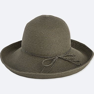 WOMEN PAPER FLOPPY HAT, OLIVE, medium