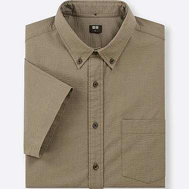 MEN DRY SEERSUCKER SHORT-SLEEVE SHIRT, OLIVE, medium