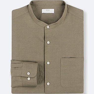 Herren Leinen-Baumwoll-Mix Hemd (Stehkragen)