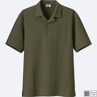 MEN U SUPIMA® COTTON OPEN COLLAR POLO SHIRT, OLIVE, medium