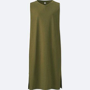 WOMEN JERSEY SLEEVELESS DRESS, OLIVE, medium