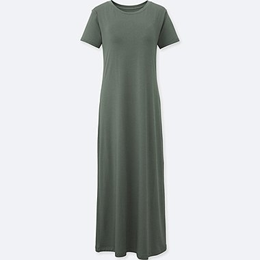 WOMEN SHORT-SLEEVE LONG BRA DRESS, OLIVE, medium