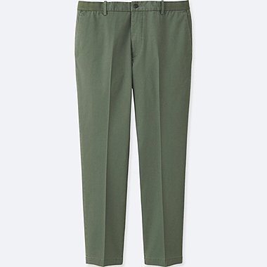 MEN RELAXED ANKLE-LENGTH PANTS (COTTON), OLIVE, medium