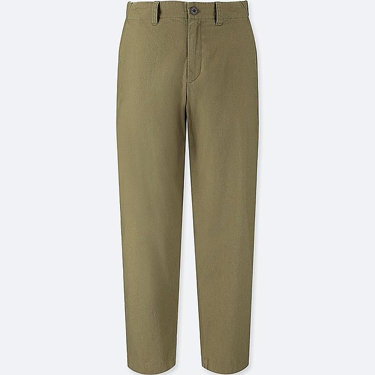 WOMEN COTTON LINEN RELAXED PANTS, OLIVE, large