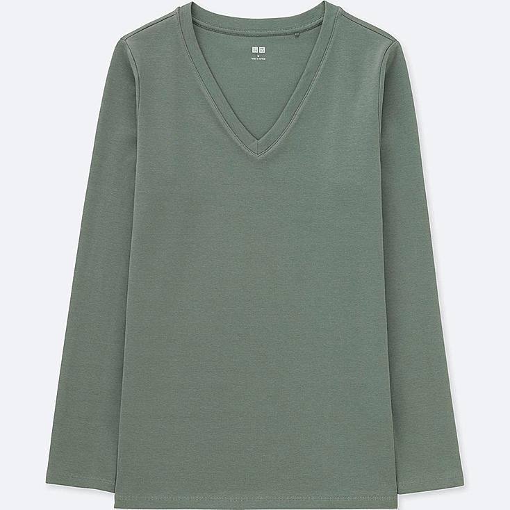 WOMEN COMPACT COTTON V-NECK LONG-SLEEVE T-SHIRT, OLIVE, large