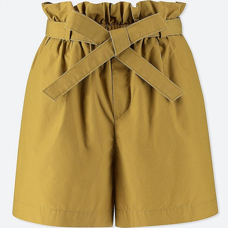 WOMEN BELTED SHORTS, OLIVE, large