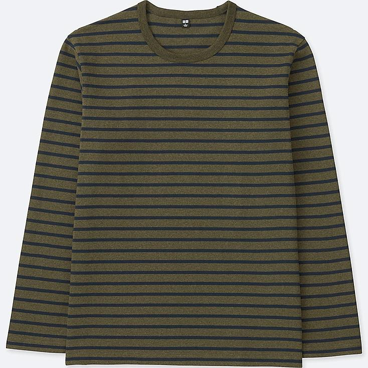 MEN WASHED STRIPED LONG-SLEEVE T-SHIRT, OLIVE, large