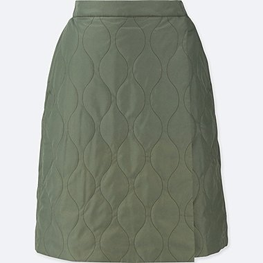 WOMEN WINDPROOF WARM-LINED WRAP SKIRT, OLIVE, medium