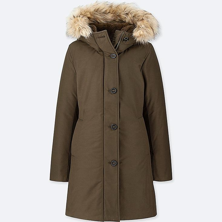 WOMEN ULTRA WARM DOWN SHORT COAT, OLIVE, large