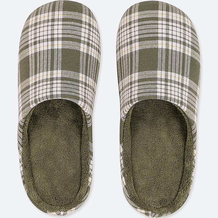 PATTERNED SLIPPERS, OLIVE, large