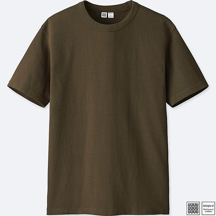 MEN U CREW NECK SHORT-SLEEVE T-SHIRT, OLIVE, large