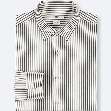 MEN EASY CARE STRIPED STRETCH SLIM FIT LONG SLEEVE SHIRT