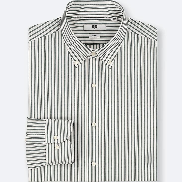MEN EASY CARE STRIPED STRETCH SLIM-FIT LONG-SLEEVE SHIRT at UNIQLO in Brooklyn, NY | Tuggl
