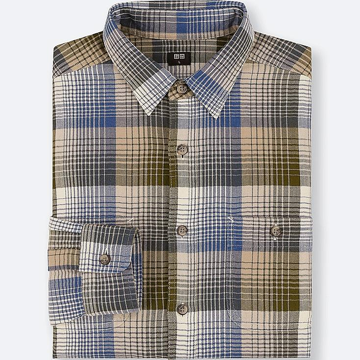 MEN FLANNEL CHECKED LONG-SLEEVE SHIRT, OLIVE, large