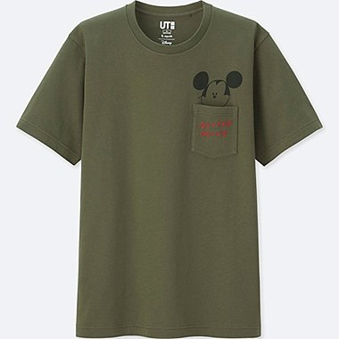 MEN MICKEY ART SHORT-SLEEVE GRAPHIC T-SHIRT (YU NAGABA), OLIVE, medium