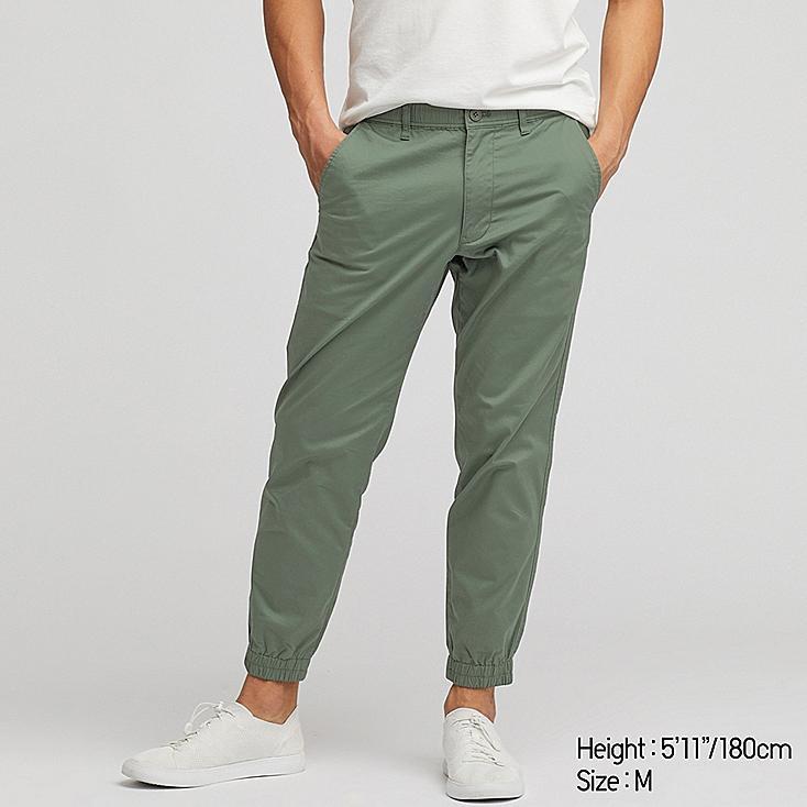 MEN PULL-ON COTTON JOGGER PANTS, OLIVE, large
