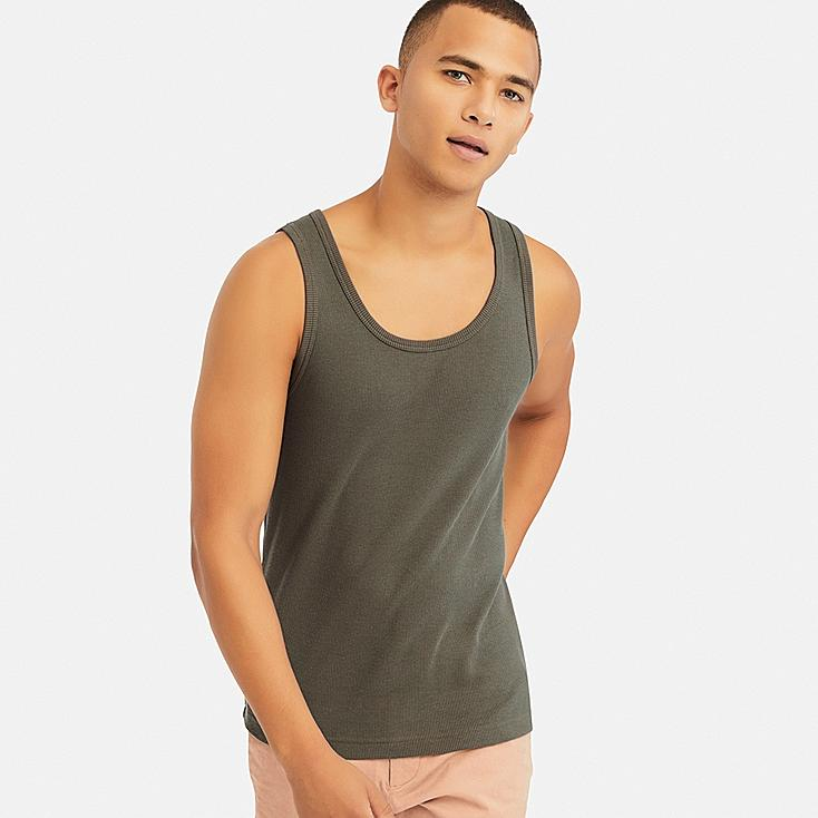 MEN PACKAGED DRY RIBBED TANK TOP, OLIVE, large