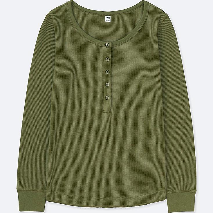 WOMEN WAFFLE HENLEY NECK LONG-SLEEVE T-SHIRT, OLIVE, large