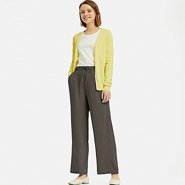 WOMEN DRAPE STRAIGHT PANTS, OLIVE, medium