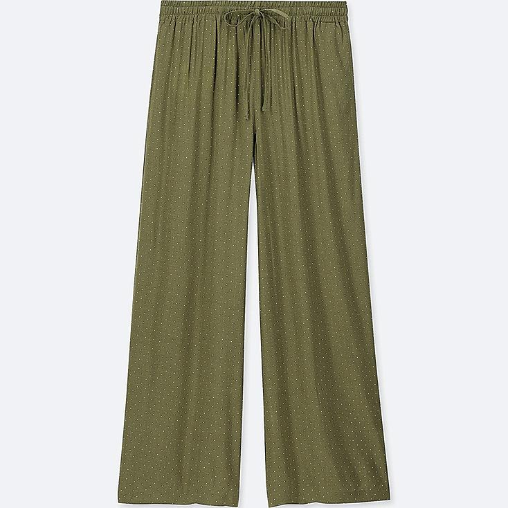 WOMEN DRAPE WIDE DOT PANTS, OLIVE, large