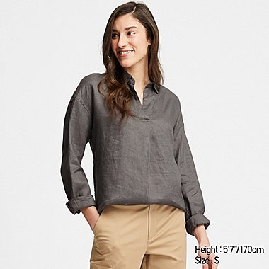 WOMEN PREMIUM LINEN SKIPPER COLLAR LONG-SLEEVE SHIRT, OLIVE, medium