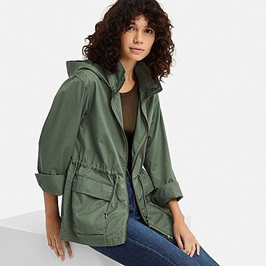 WOMEN COTTON PARKA, OLIVE, medium
