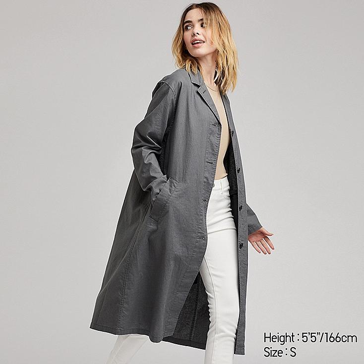 WOMEN LINEN BLEND COAT, OLIVE, large